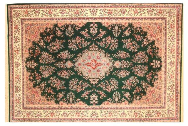 Rose & Green Tabriz-Style Rug, 9' x 6'