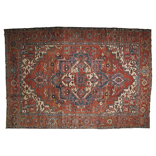 "Antique Serapi Carpet, 9'5"" x 13'10"""