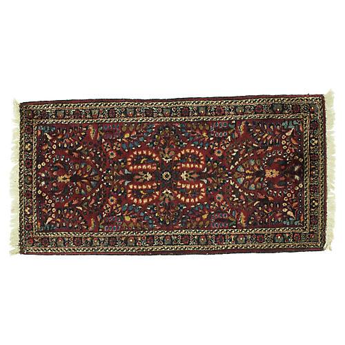 """Antique Sarouk Rug, 4' x 2'1"""""""