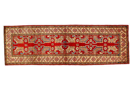 Red Kazak Rinner, 3' x 9'4