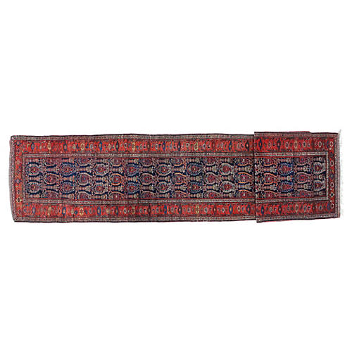 "Antique Malayer Runner, 3'4"" x 17'"