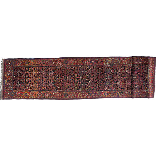 "Antique Bijar Runner, 3'3"" x 15'4"""