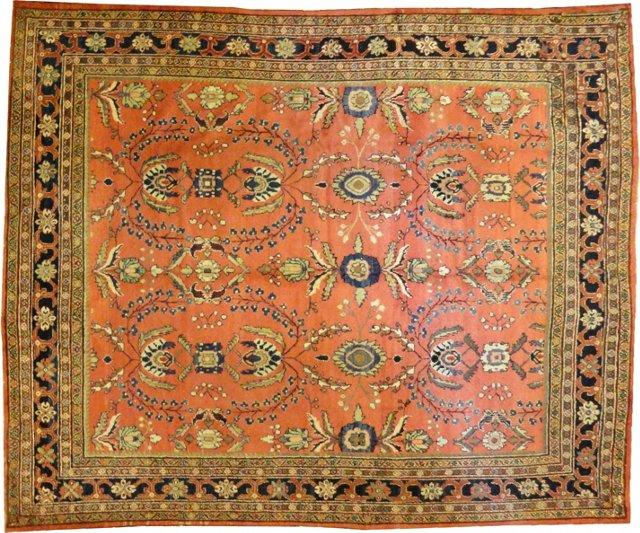 """Antique Mahal Carpet, 9' x 10'3"""""""