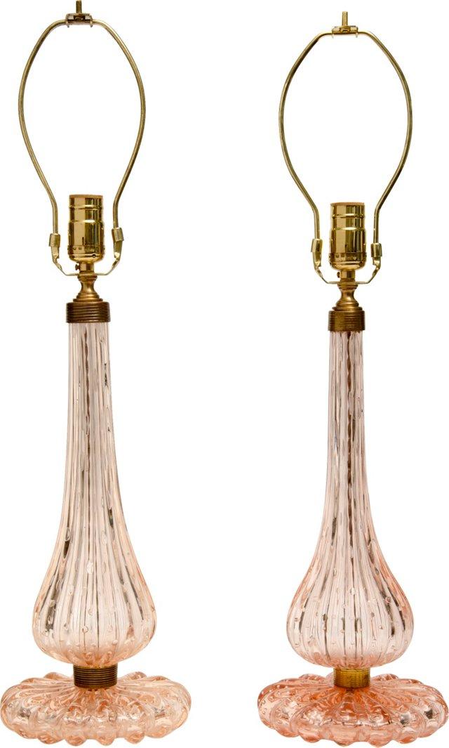 Pink Murano Lamps, Pair