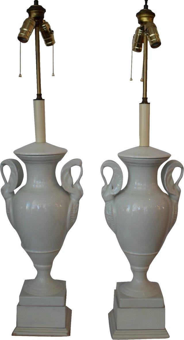 Porcelain Trophy Lamps, Pair