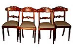 Biedermeier-Style Wood Chairs, Set of 4