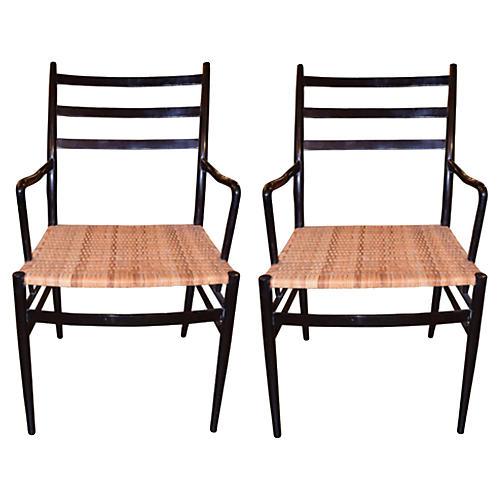 Gio Ponti-Style Armchairs, Pair
