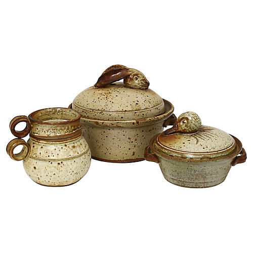 Mid-Century French Stoneware Set, 3 Pcs