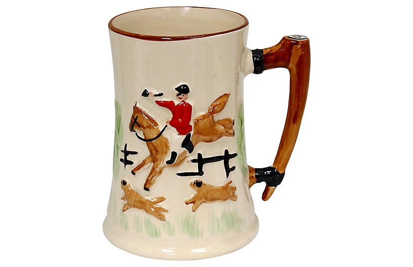 Hand-Painted Tally Ho Hunt Scene Tankard