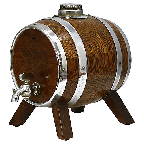 English Oak Liquor Barrel Decanter