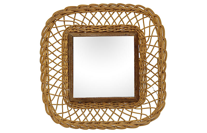 Midcentury French Wicker Wall Mirror