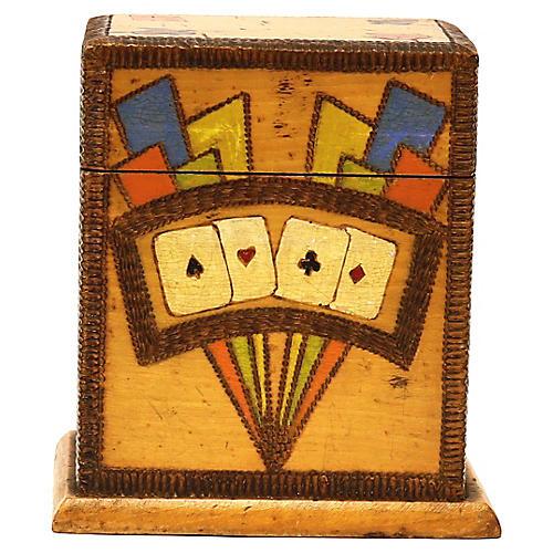 Mid-Century Wood Playing Card Box
