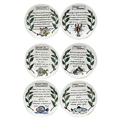 Gien Seafood Recipe Plates, S/6