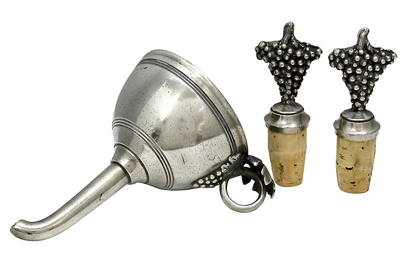 French Pewter Wine Funnel & Stopper Set