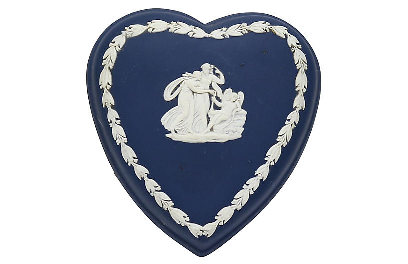 Cobalt Jasperware Heart Trinket Box