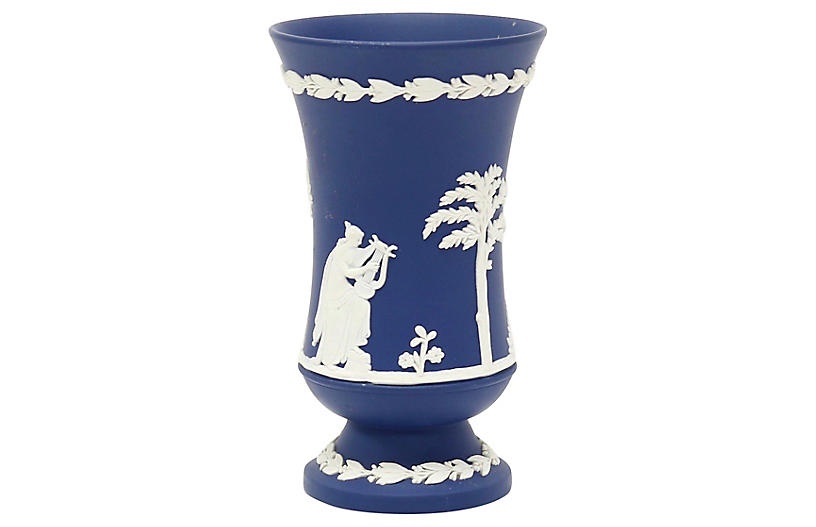 Cobalt Wedgwood Jasperware Cache Pot