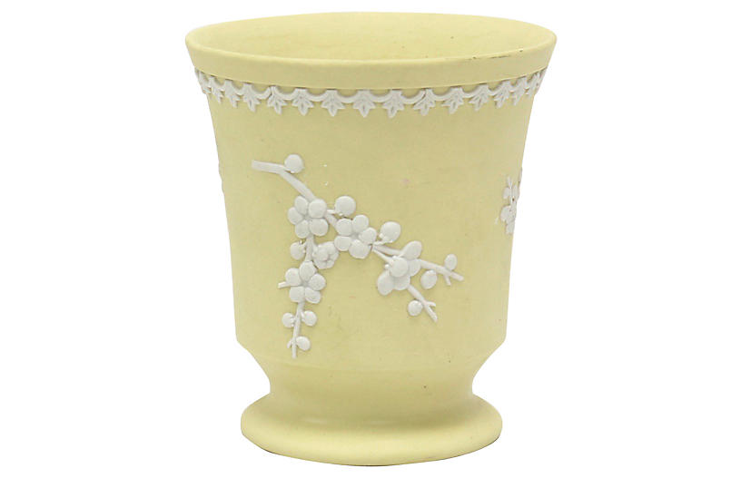 Yellow Wedgwood Jasperware Posy Pot