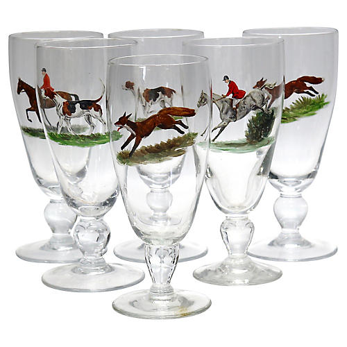 Hand-Painted Fox Hunt Scene Glasses, S/6