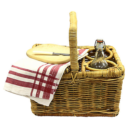 Midcentury French Picnic Basket Set, 5Pc