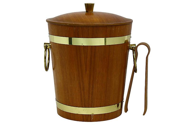 Midcentury Teak Ice Bucket w/ Tongs
