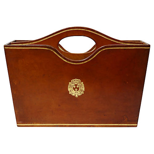Leather-Wrapped Magazine Holder w/ Crown