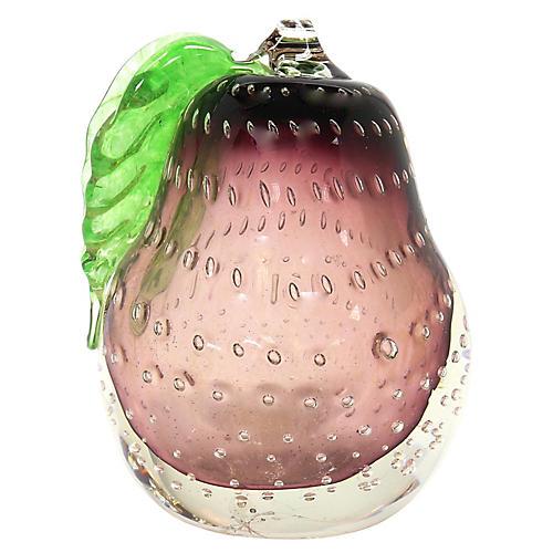 Barbini Murano Sommerso Pear Bookend