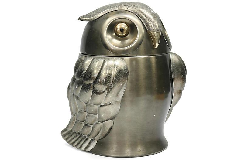 Midcentury Metal Owl Ice Bucket