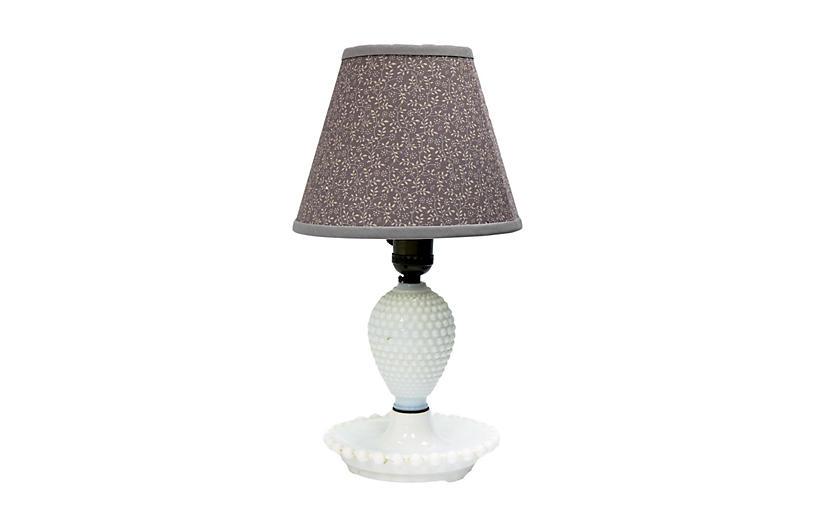 Hobnail Milk Glass Lamp w/ Custom Shade