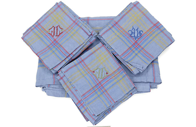 Midcentury Table Linens w/JL Mono, 9 Pcs