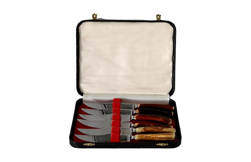 Midcentury Stag Antler Steak Knives, S/6