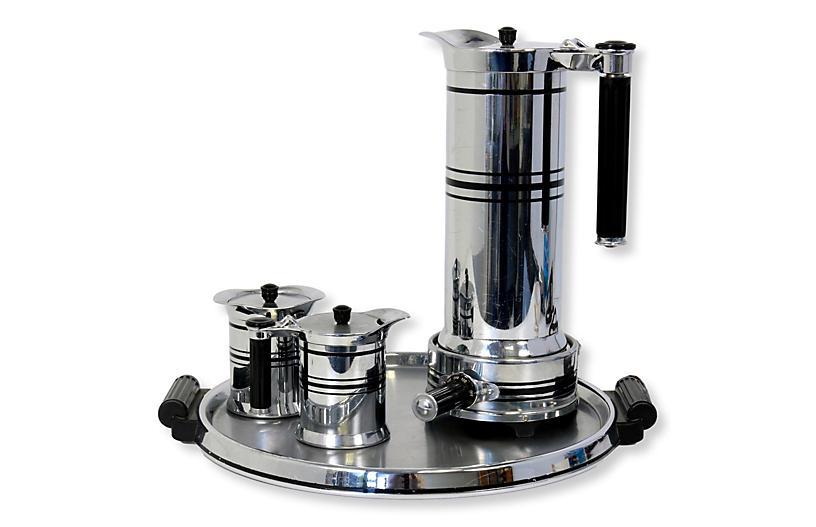 Midcentury Chrome & Bakelite Coffee Set