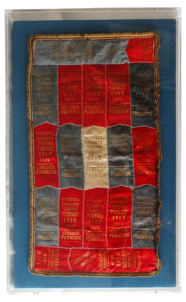Patriotic Silk Prize Ribbon Quilt, 1929