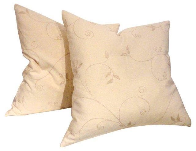 Cream Crewelwork Pillows,     Pair