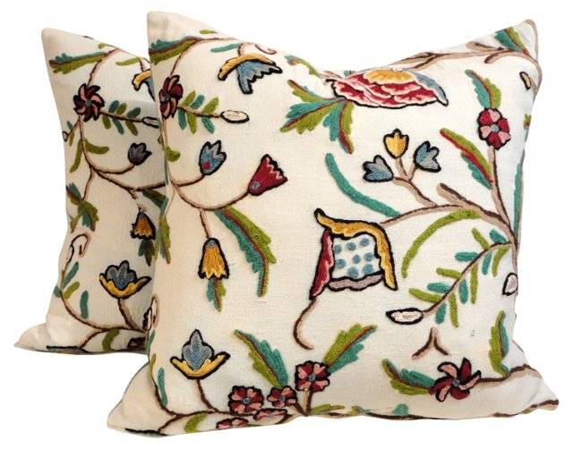 Floral Crewelwork     Pillows, Pair