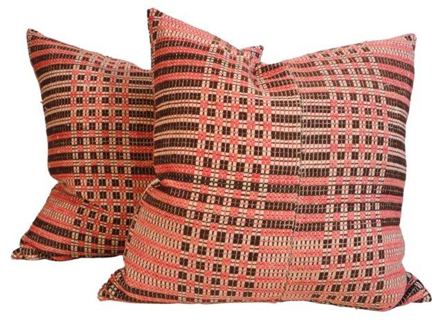 Woven Coverlet Pillows, Pair