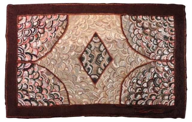 """Large Hand Hooked Rug, 5'8"""" x 3'7"""""""