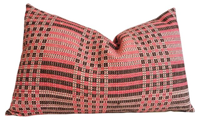 Pillow w/ 19th-C. Woven Coverlet