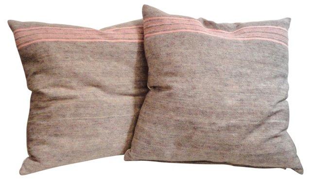 Mauve-Striped Camp Blanket Pillows, Pair