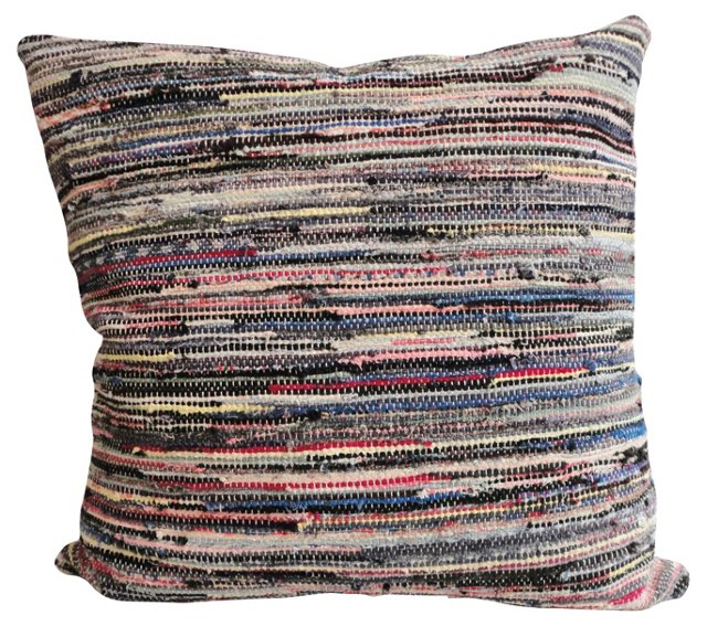 Striped Rag Rug      Pillow