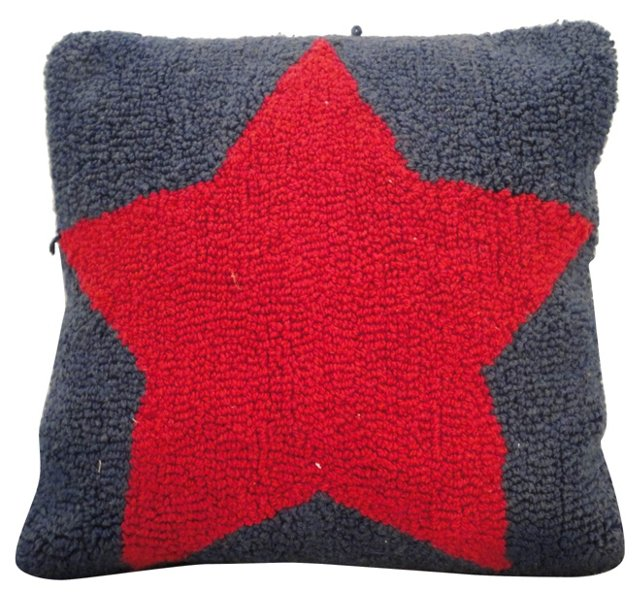 Hand-Hooked  Star Rug Pillow
