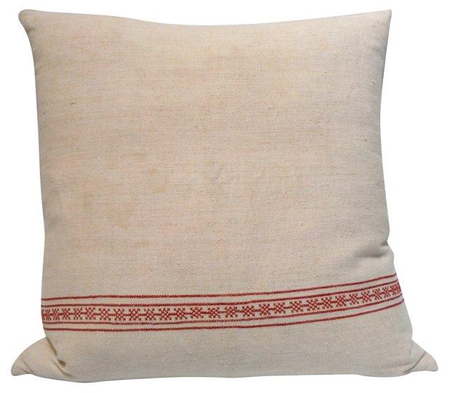 Pillow w/ 19th-C.     Linen