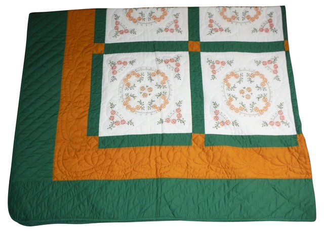 Hand-Embroidered Quilt