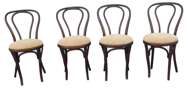 19th-C.  Bentwood Chairs, Set of 4