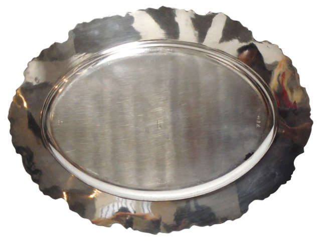 19th-C. English Silver Tray  w/ Grapes