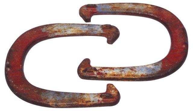 Painted Iron Horseshoes, Pair