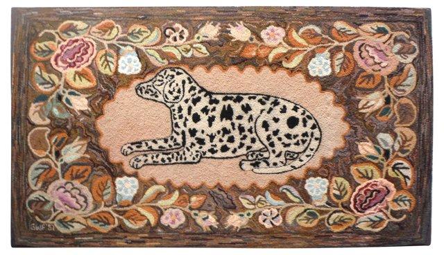 Mounted Hand-Hooked Dalmatian Rug