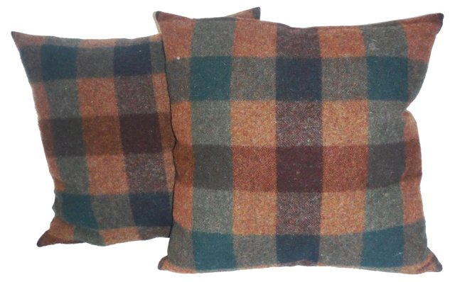 Wool  Plaid  Pillows, Pair