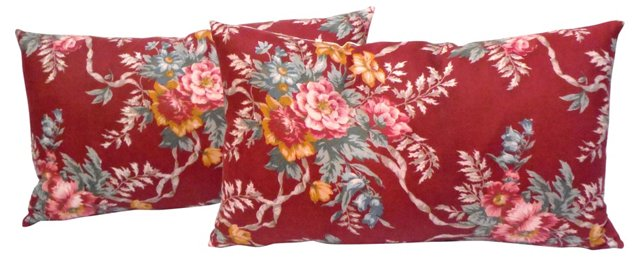 Polished Cotton Floral Pillows, Pair