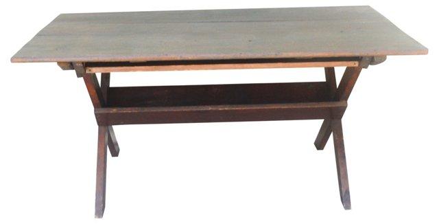 19th-C. Pine Sawbuck Table