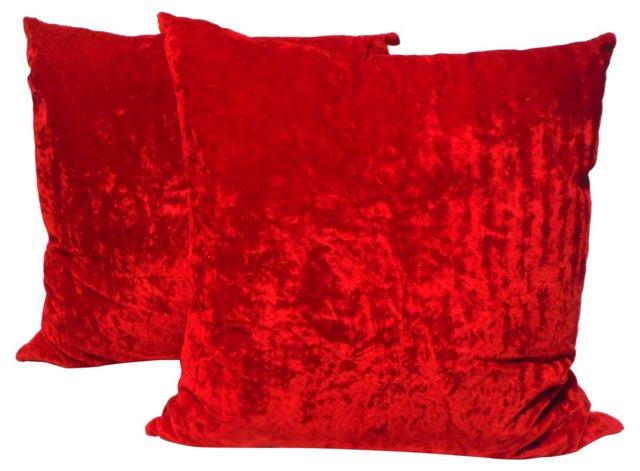 Red Velvet Pillows, Pair